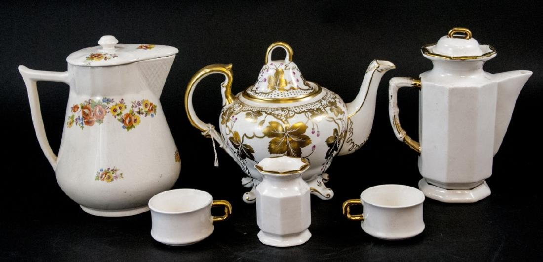 Assorted Vintage Teapots, Teacups & Creamer