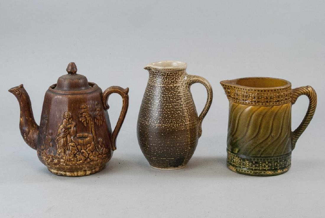 Vintage Spongeware & Stoneware Pitchers & Tea Pot