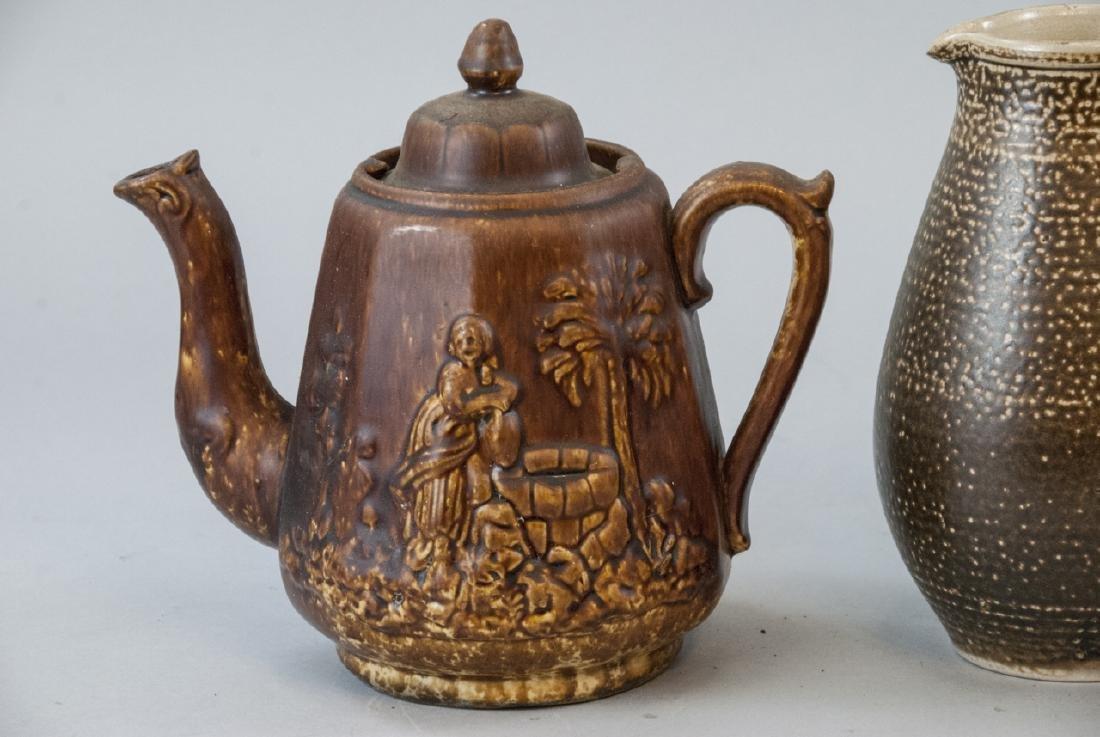 Vintage Spongeware & Stoneware Pitchers & Tea Pot - 4