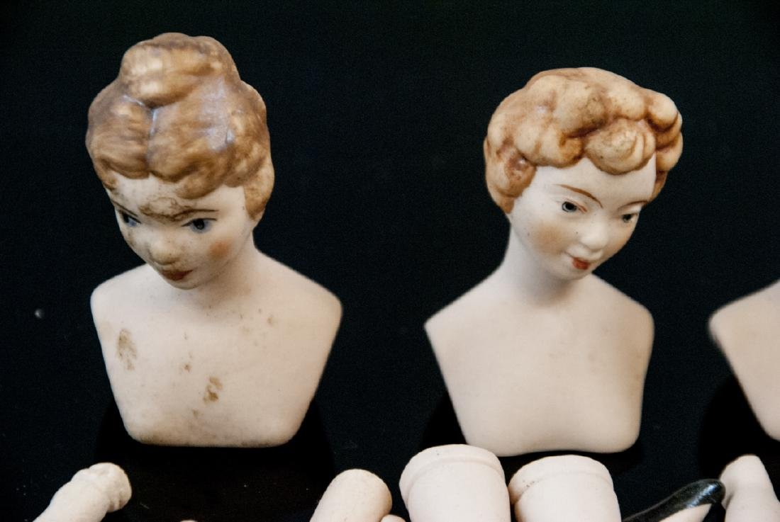 Vint. Porcelain Doll Heads, Legs, Arms Small Scale - 3