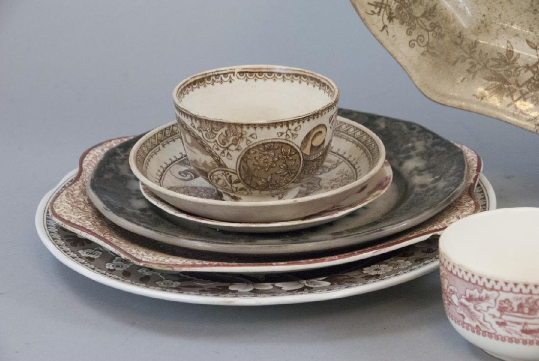 Lot of  Antique Transfer Ware in Red, Brown, Black - 3