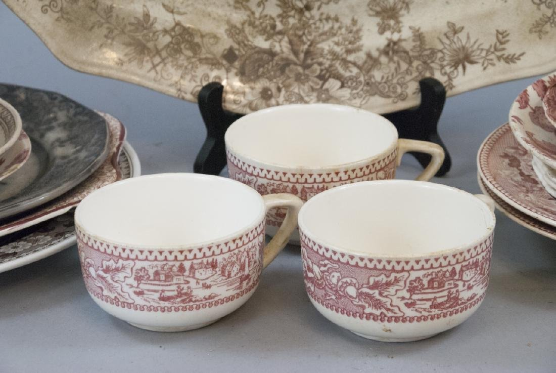 Lot of  Antique Transfer Ware in Red, Brown, Black - 4