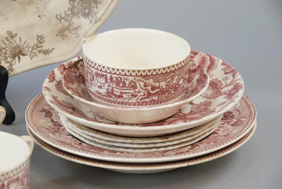 Lot of  Antique Transfer Ware in Red, Brown, Black - 5