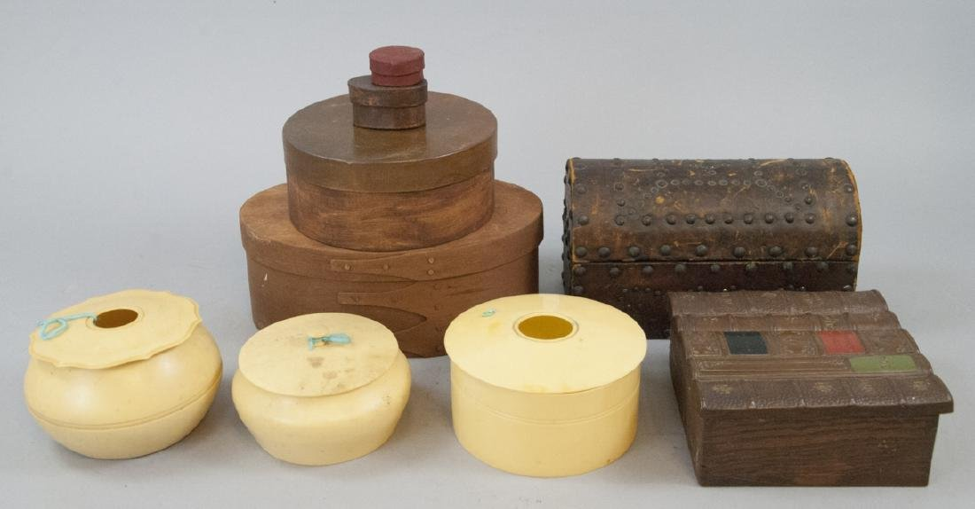 Lot of Vintage Boxes of Celluloid, Wood, Leather