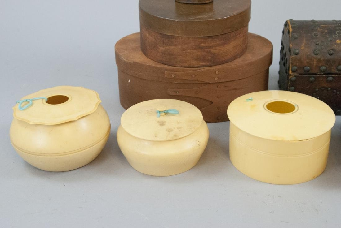 Lot of Vintage Boxes of Celluloid, Wood, Leather - 3