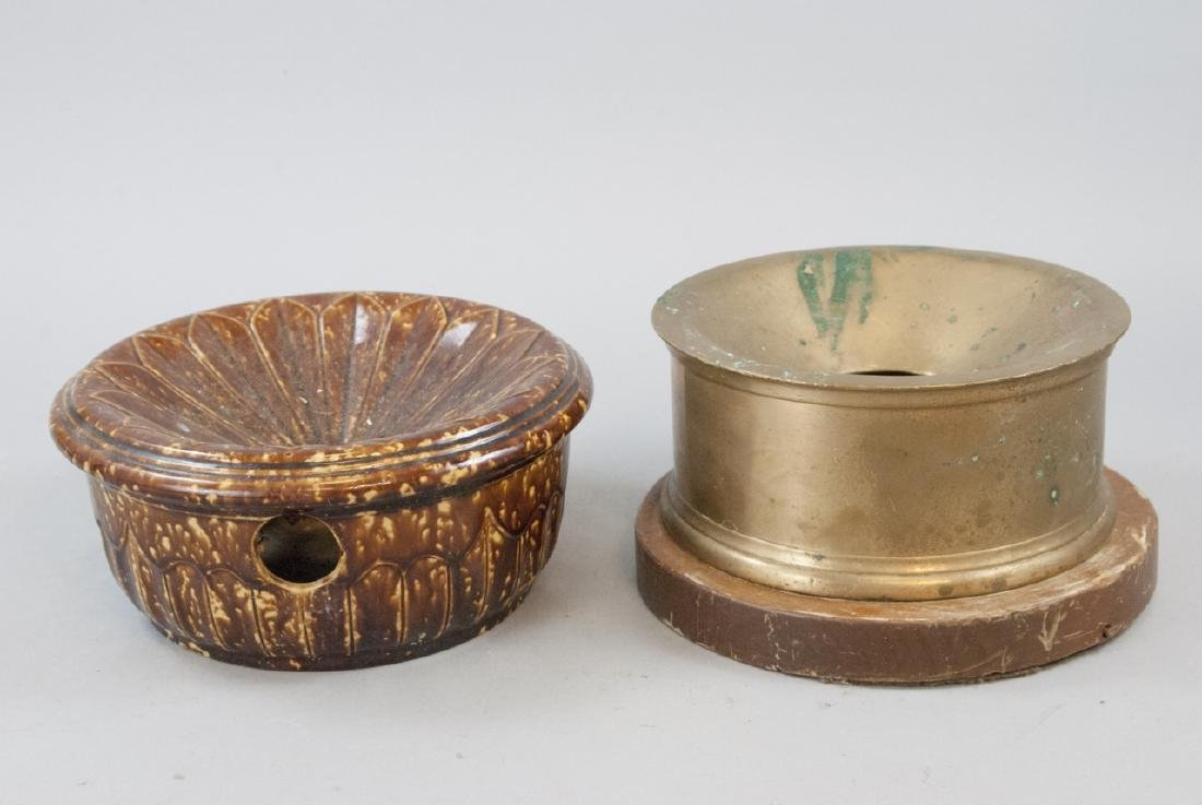 Pair Antique Brass & Ceramic Cuspidor / Spittoons
