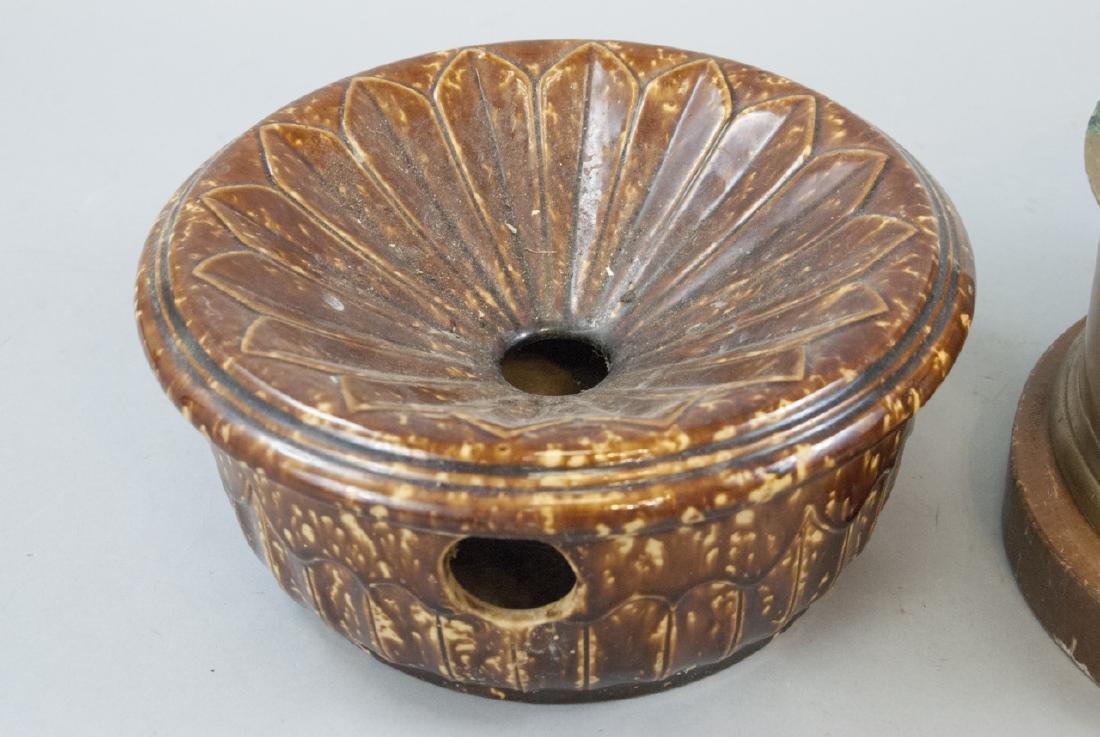 Pair Antique Brass & Ceramic Cuspidor / Spittoons - 2