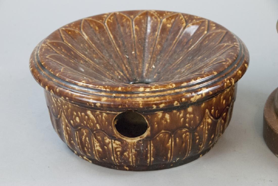 Pair Antique Brass & Ceramic Cuspidor / Spittoons - 3