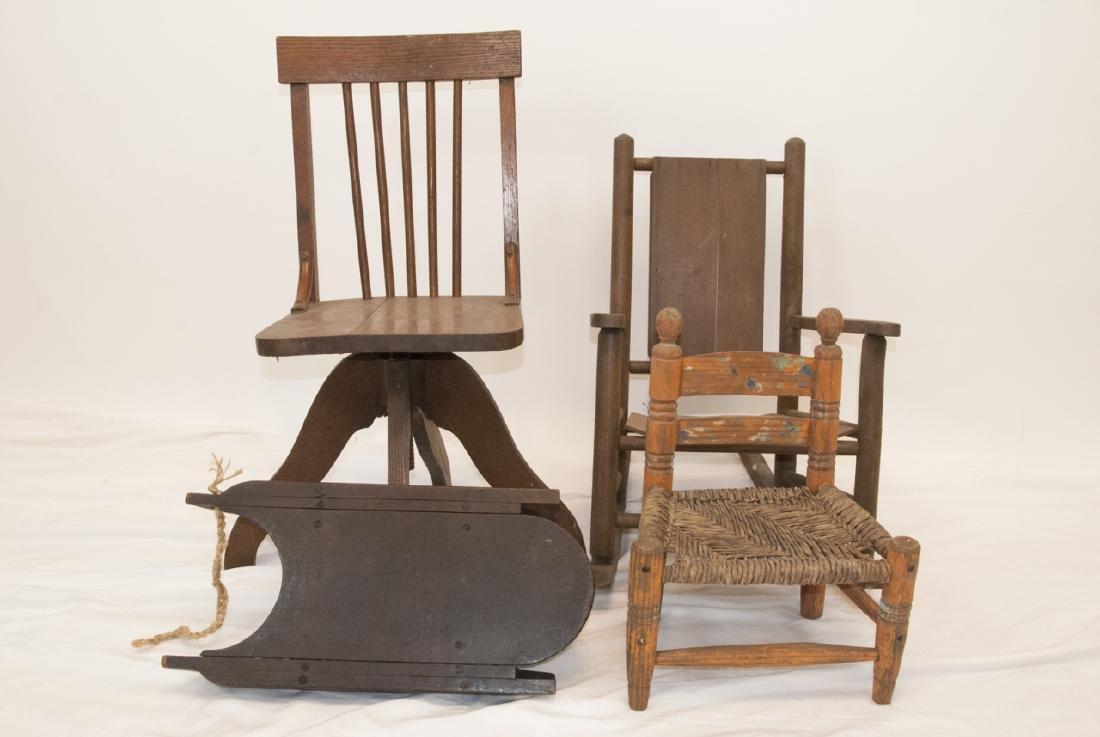 Antique Children's Chairs, School, Rocker, Rush