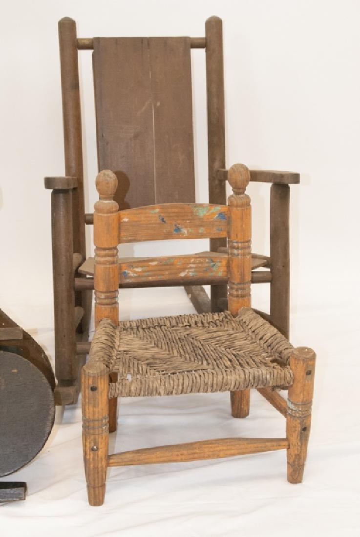 Antique Children's Chairs, School, Rocker, Rush - 2