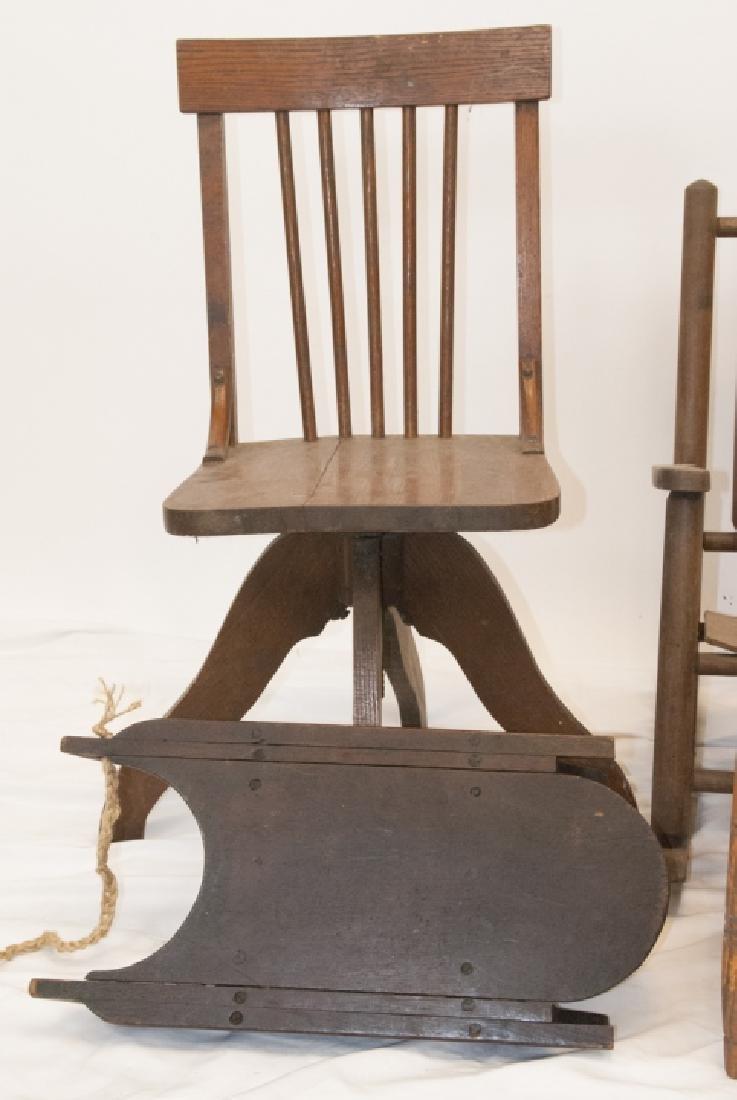 Antique Children's Chairs, School, Rocker, Rush - 3