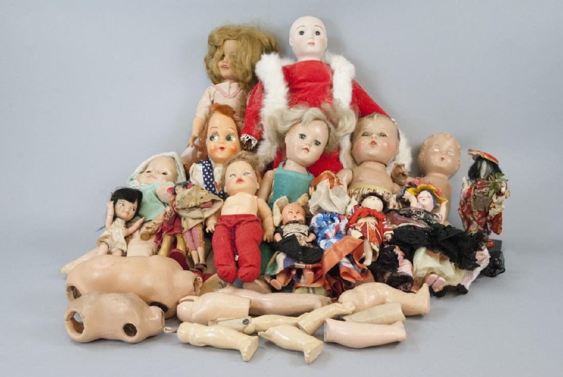 Lot Vintage Small Dolls & Doll Parts