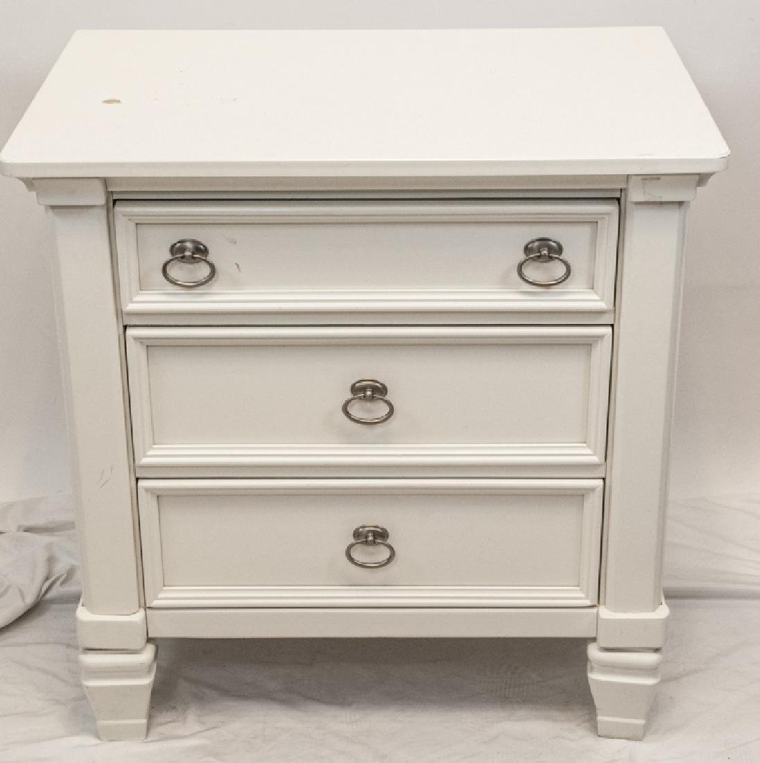 White Wooden  Traditional Nightstand W/ 3 Drawers