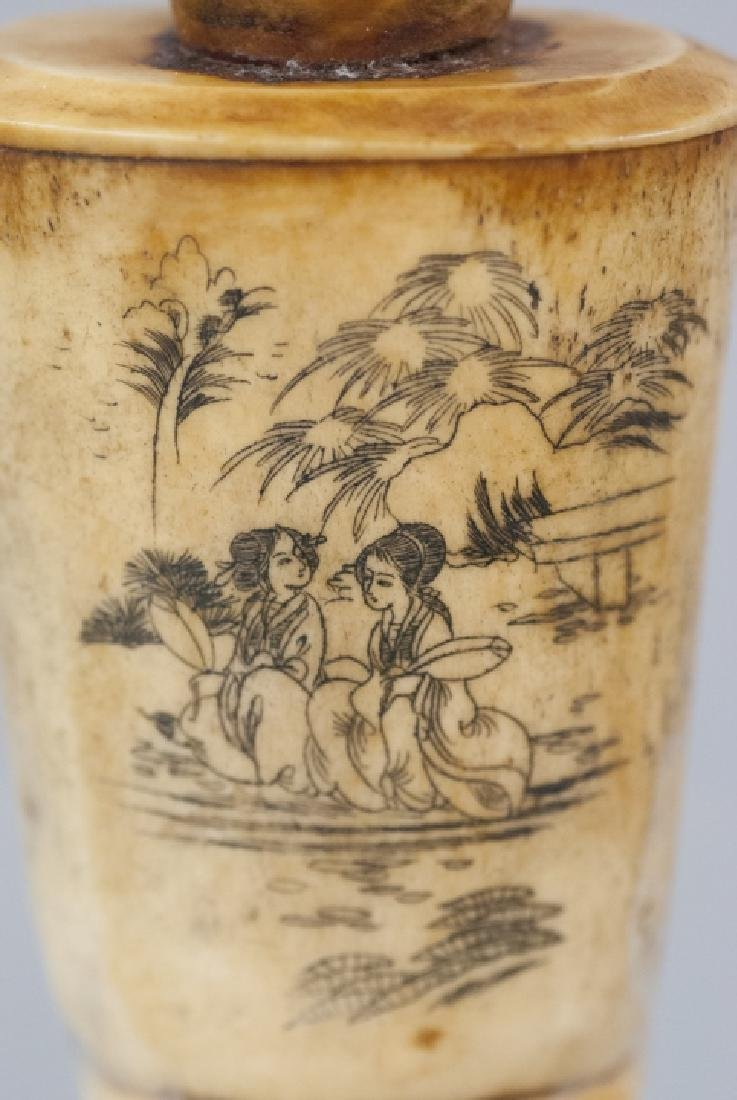 Chinese Carved Ox Bone Tea Caddy / Snuff Bottle - 2