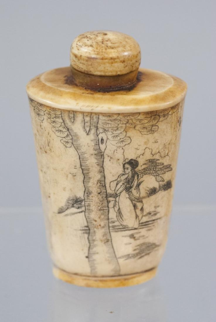 Chinese Carved Ox Bone Tea Caddy / Snuff Bottle - 4