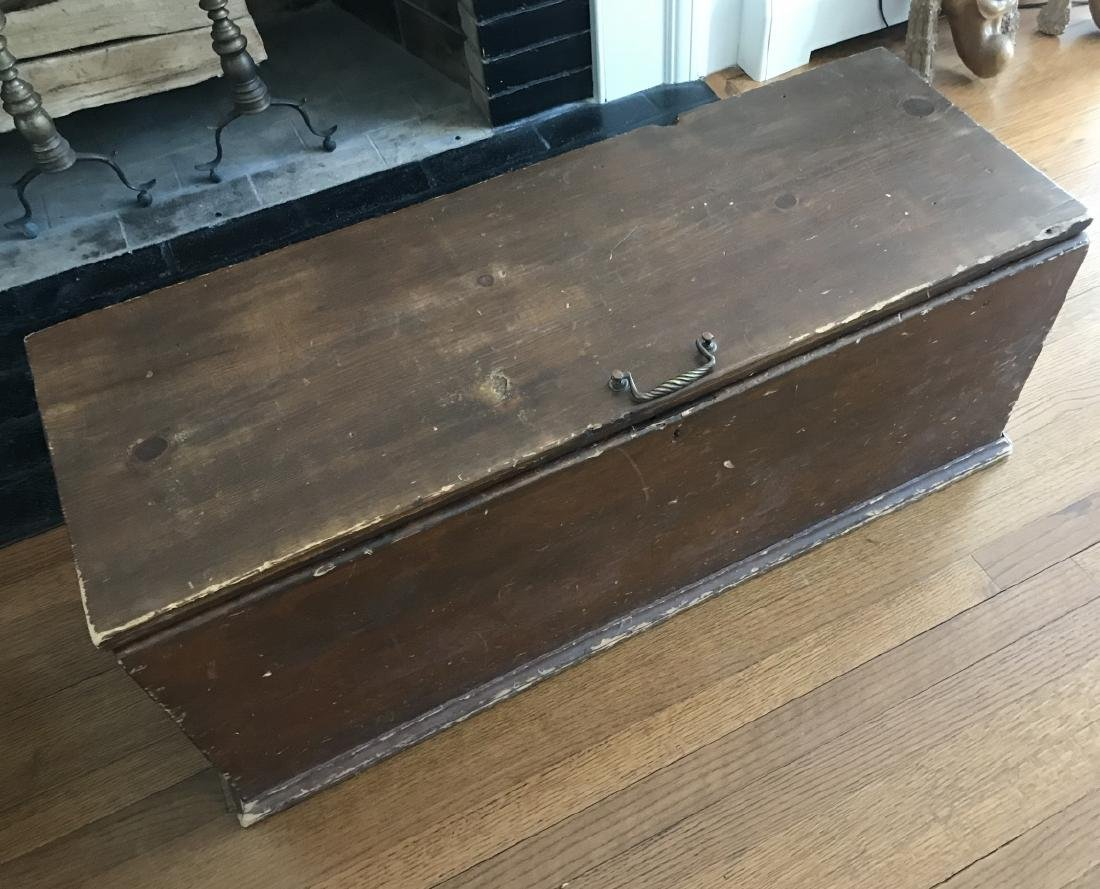 Antique 19th C American Country Chest or Trunk - 2