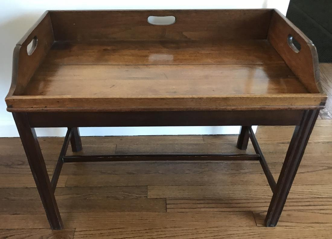 "English Campaign Style ""Tray Top"" Coffee Table"