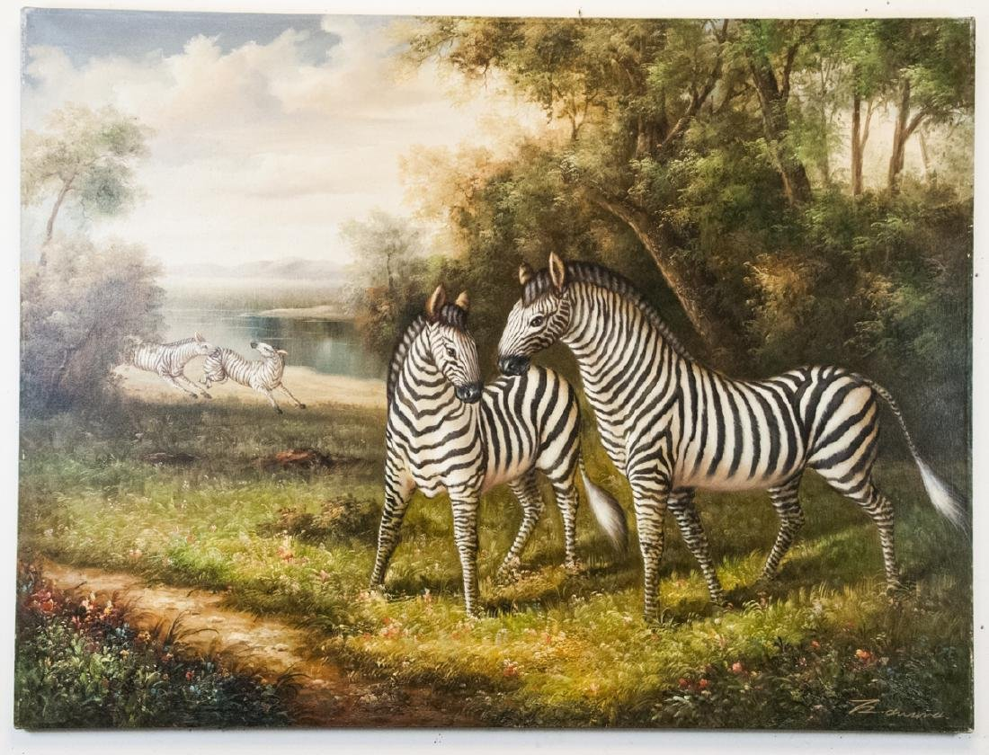 Oil on Canvas, Zebras in Wild, Painting