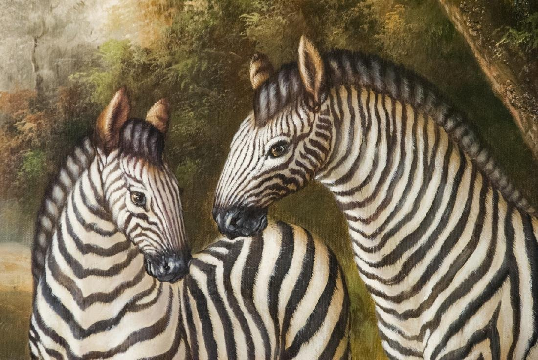 Oil on Canvas, Zebras in Wild, Painting - 2