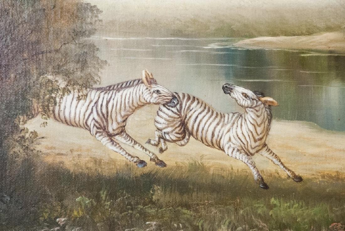 Oil on Canvas, Zebras in Wild, Painting - 3