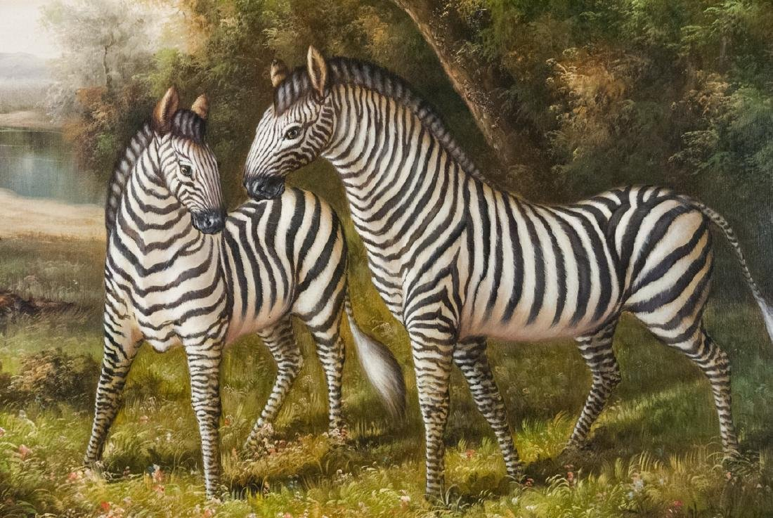 Oil on Canvas, Zebras in Wild, Painting - 5