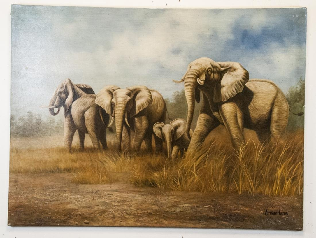 Oil on Canvas, Elephants in Wild, Painting