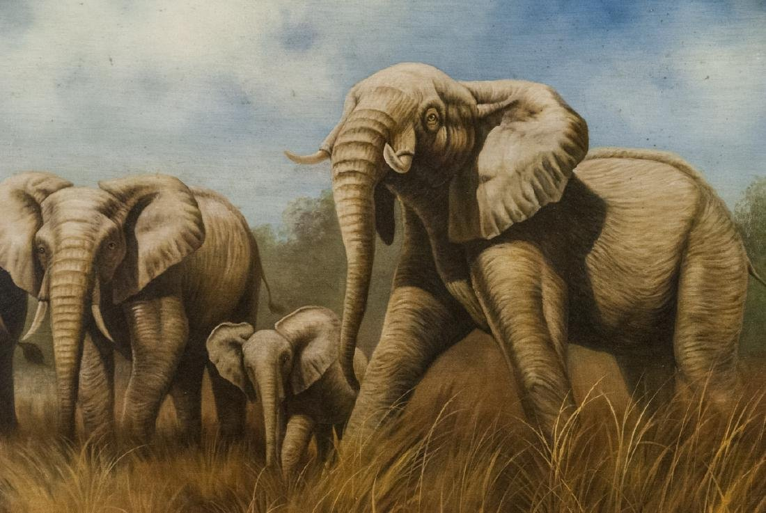 Oil on Canvas, Elephants in Wild, Painting - 2
