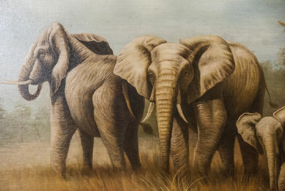 Oil on Canvas, Elephants in Wild, Painting - 4