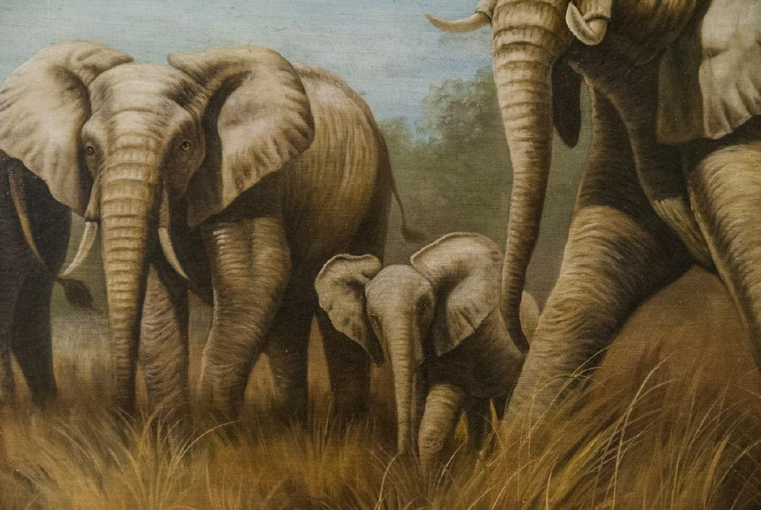Oil on Canvas, Elephants in Wild, Painting - 5