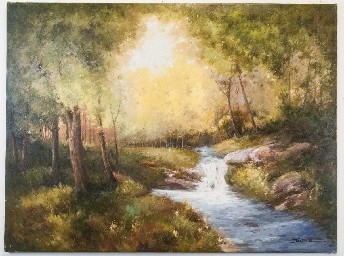 Oil on Canvas, Stream in Summertime, Painting