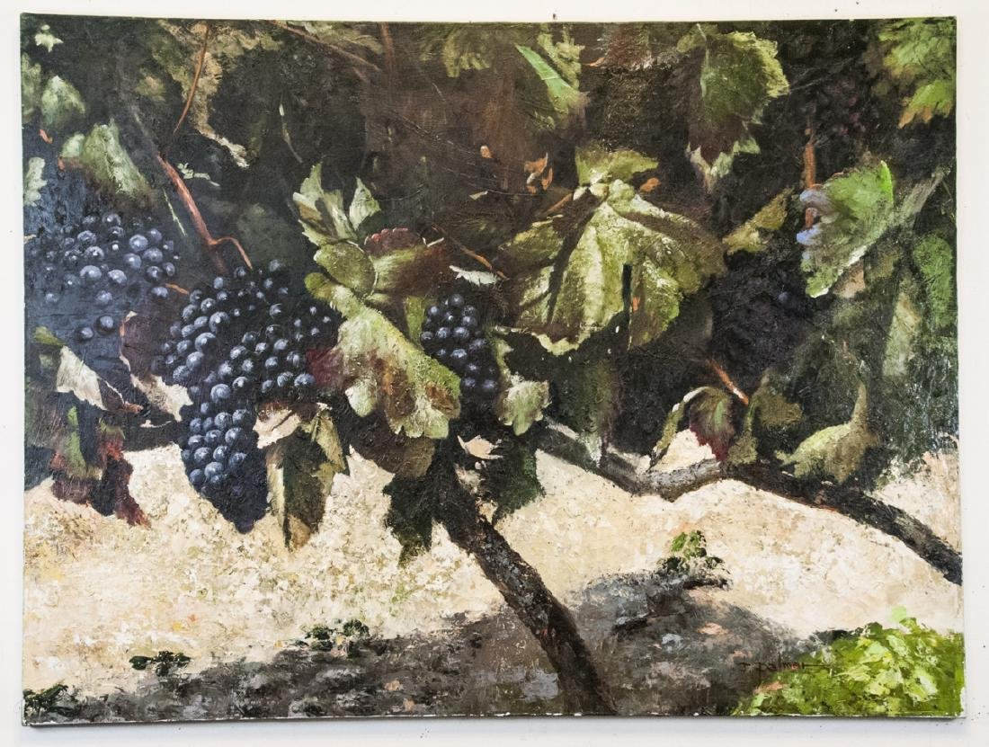 Oil on Canvas, Grapes on Grapevines, Painting