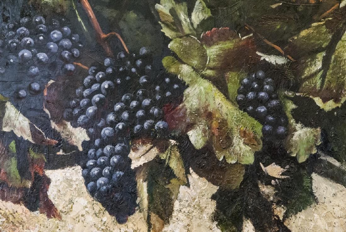 Oil on Canvas, Grapes on Grapevines, Painting - 3