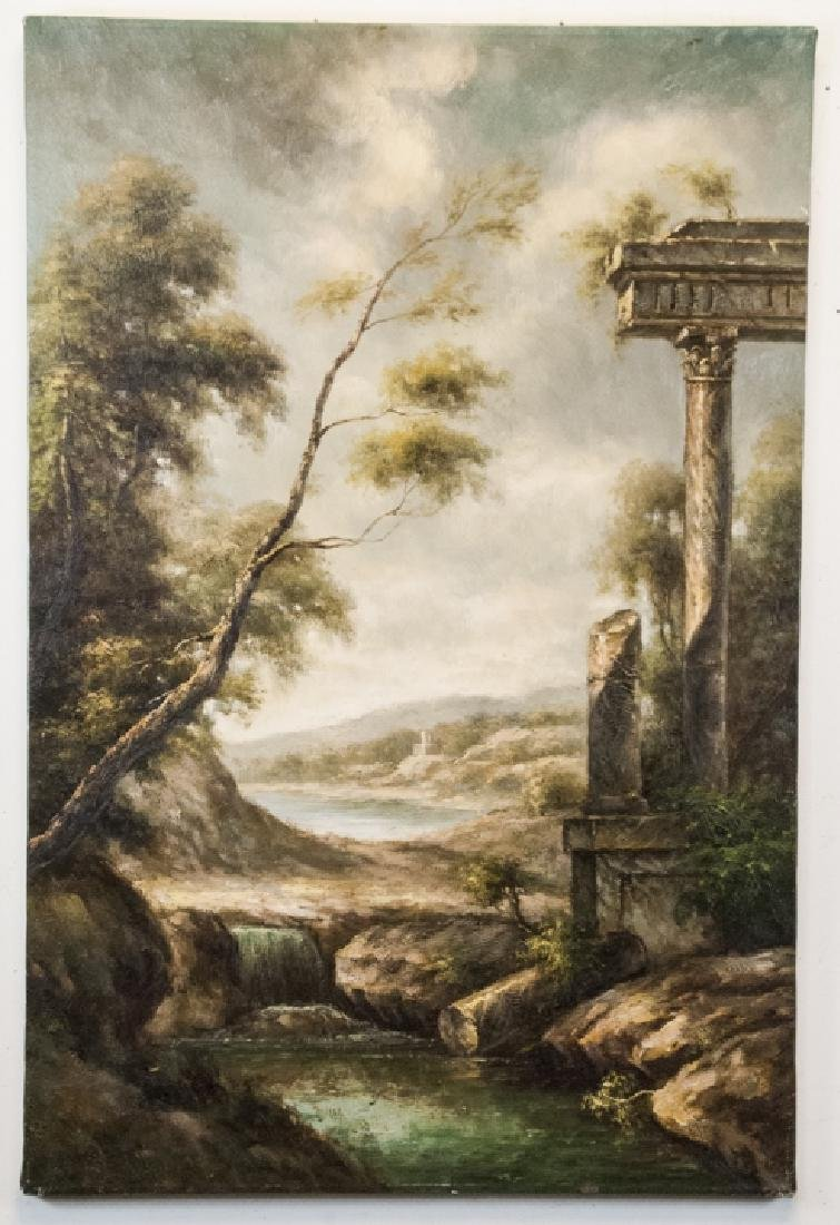 Oil on Canvas, Corinthian Column Ruin, Painting