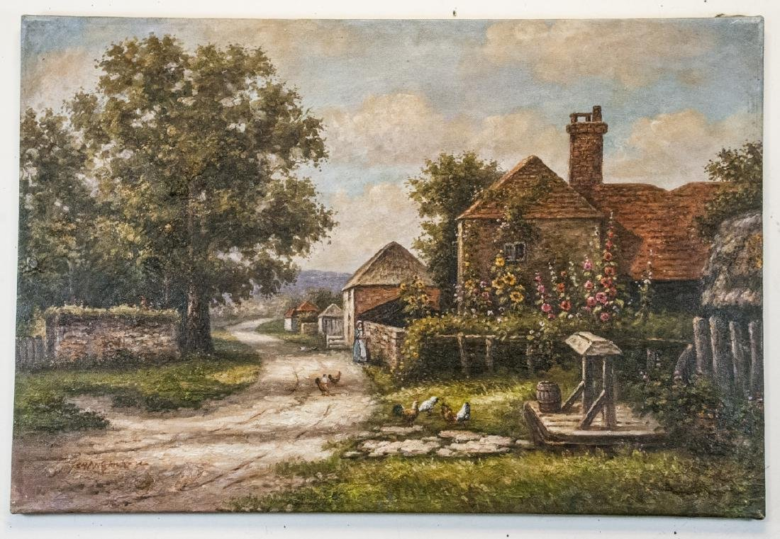Oil on Canvas, 19th Century Country Road Painting