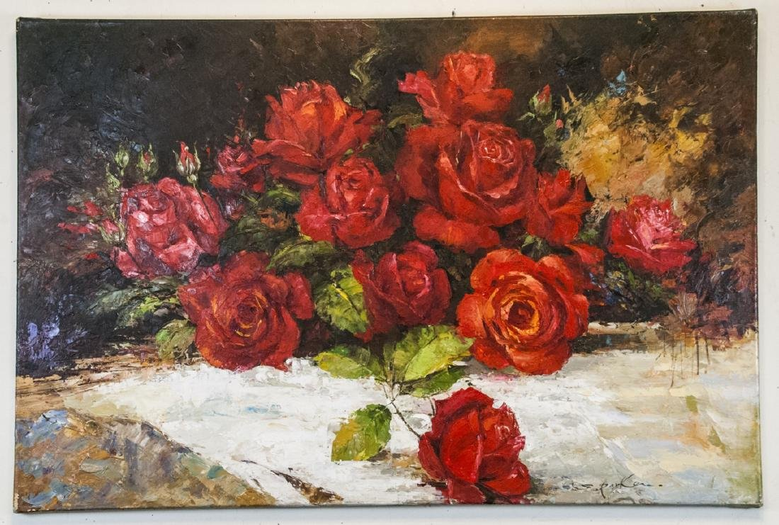 Oil on Canvas, Red Roses in Fall, Painting Signed