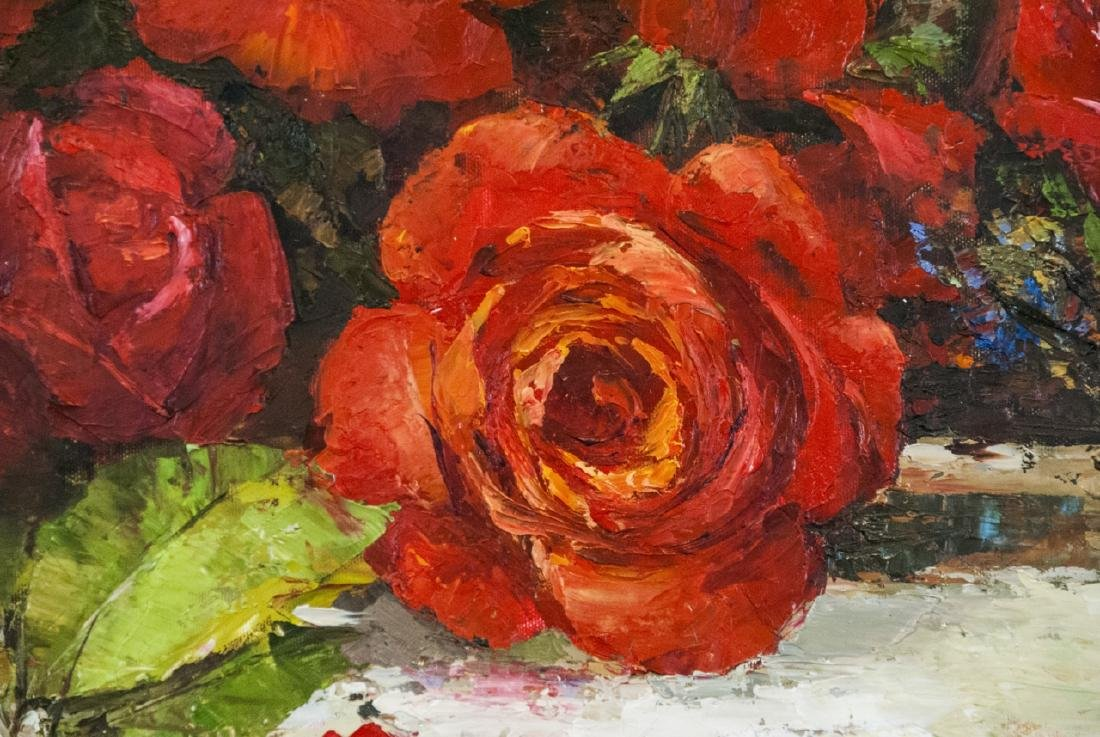 Oil on Canvas, Red Roses in Fall, Painting Signed - 3