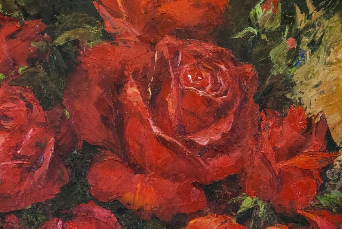 Oil on Canvas, Red Roses in Fall, Painting Signed - 4