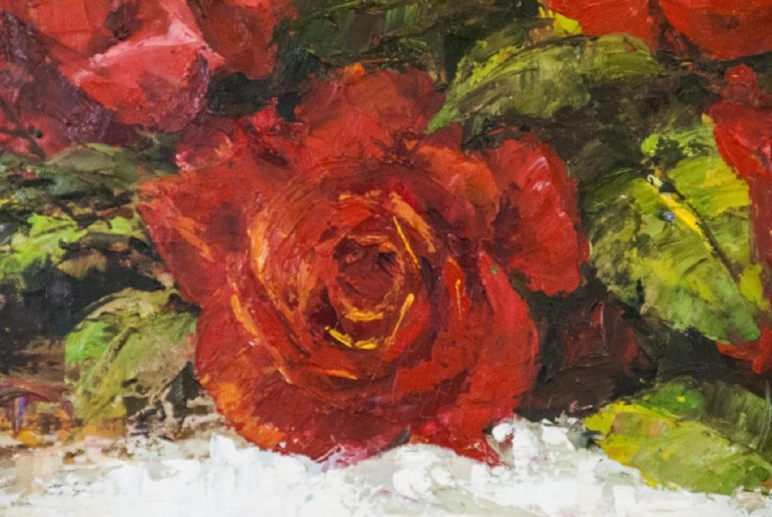 Oil on Canvas, Red Roses in Fall, Painting Signed - 5