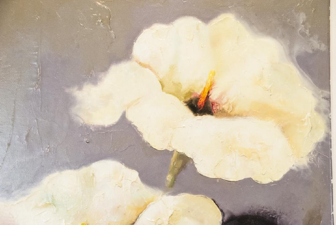 Oil on Canvas, White Hibiscus in Vase, Painting - 3