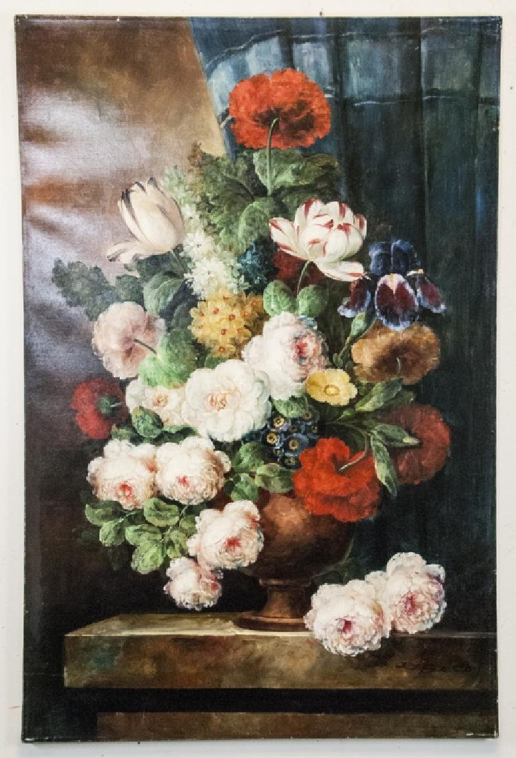 Oil on Canvas, Floral Still Life in Urn, Painting