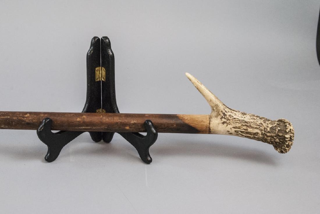 Antique Antler Handled Walking Cane - 4