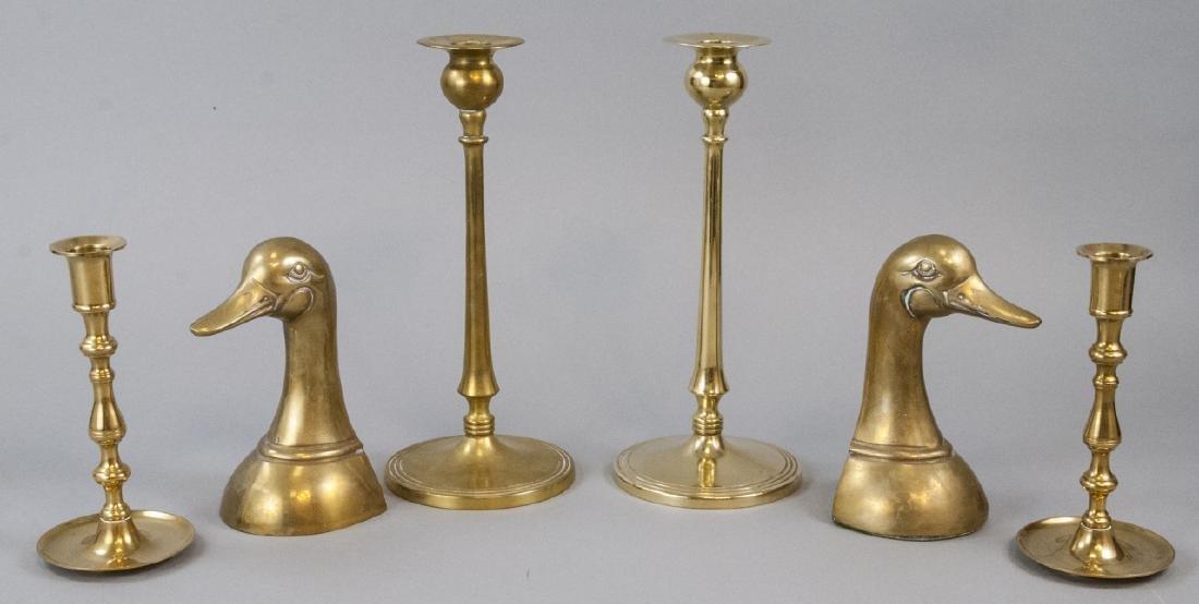 Lot Vintage Brass Tabletop Bookends & Candlesticks