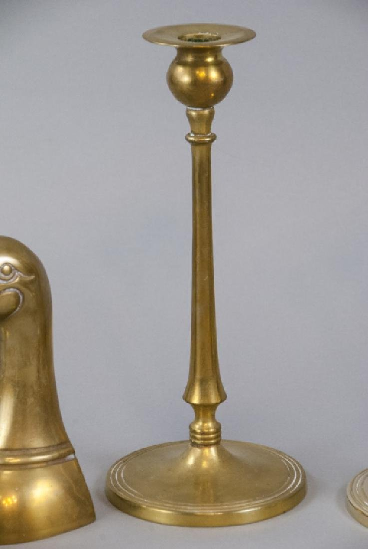 Lot Vintage Brass Tabletop Bookends & Candlesticks - 6