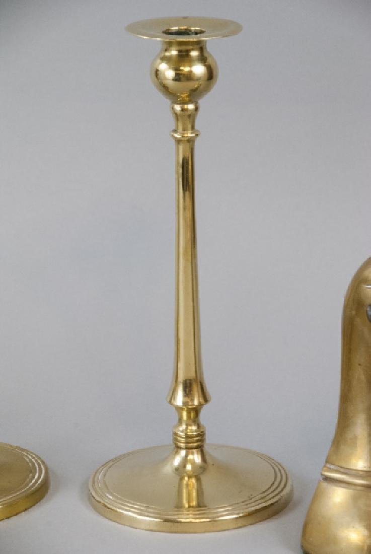 Lot Vintage Brass Tabletop Bookends & Candlesticks - 7
