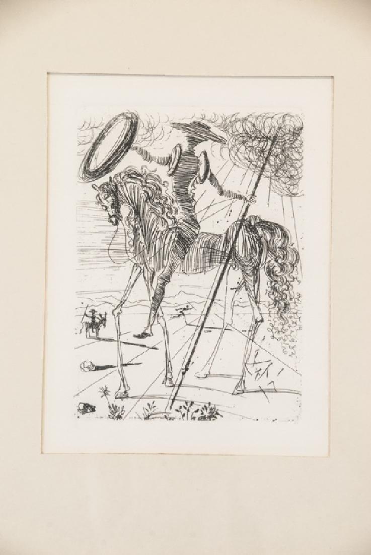 Salvador Dali Framed Don Quixote Engraving Print - 2