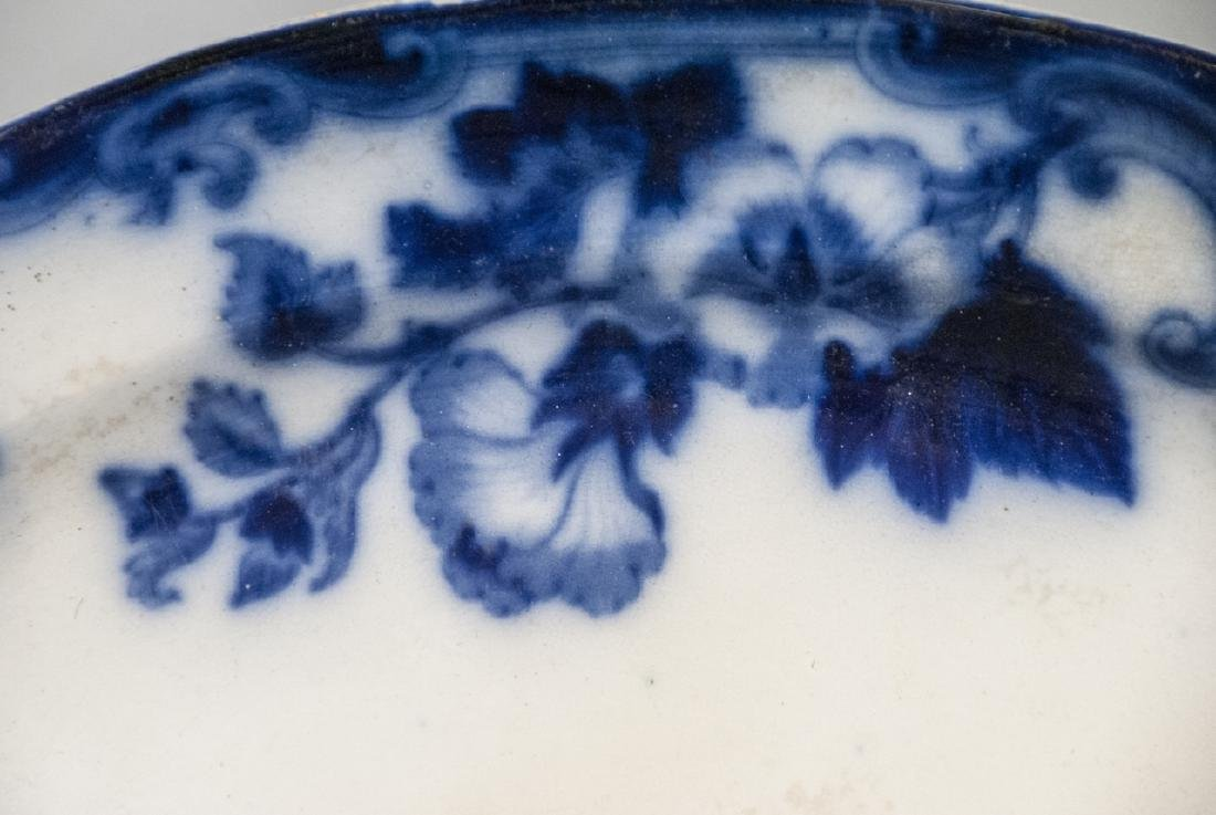 Antique Blue & White Ironstone Flow Blue Platter - 2