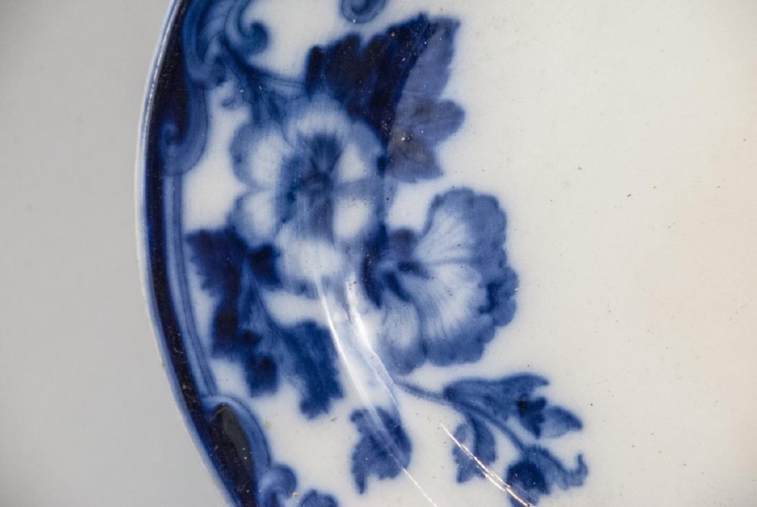 Antique Blue & White Ironstone Flow Blue Platter - 3