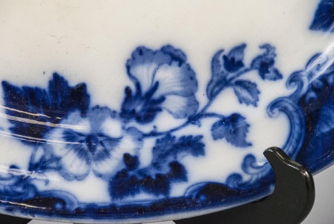Antique Blue & White Ironstone Flow Blue Platter - 4