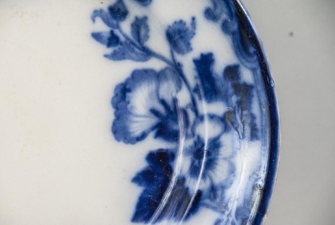 Antique Blue & White Ironstone Flow Blue Platter - 5