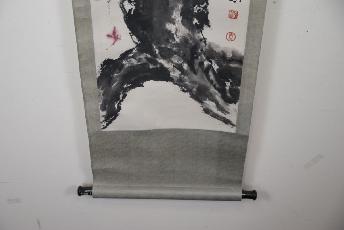 Chinese Hand Painted & Signed Landscape Scroll - 3